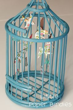 Paper birds in a spray painted cage. Kids Bedroom, Bedroom Decor, Paper Birds, Bird Cages, Diy Paper, Paper Crafts, Bird Feathers, Decorative Accessories, At Least