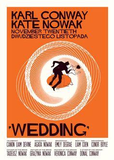 Amazing Saul Bass inspired invitation based on Vertigo movie poster for 60s wedding