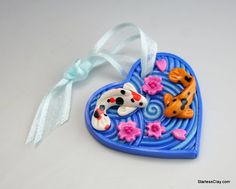 Koi Pond Valentine Heart Ornament in Polymer Clay by StarlessClay