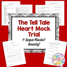 "Students will use close reading skills and cite text evidence to prove their case in this ""Tell Tale Heart"" Mock Trial. Students will read the short story ""The Tell Tale Heart"" by Edgar Allan Poe. Then students will view a short mock trial procedure video."