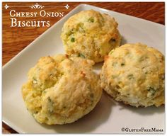 Gluten Free Cheesy Onion Biscuits ~ Perfect for dinner, serve with soups or slice in half and build your favorite sandwich!