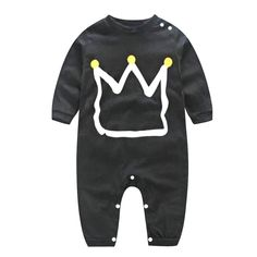 Lovely Crown Printed Black Long-sleeve Baby Jumpsuit