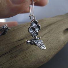 Pollinator Bee Sterling Silver Earrings - Beth Millner Jewelry - 1