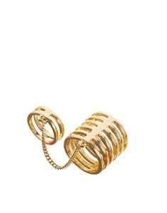 Ring von ASOS Collection kombinierbares Design breiten Ringbänder Verbindungskette goldfarben