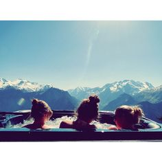 Mountains..literally the best feeling to be in a hot tub on top of a mountain while it's snowing