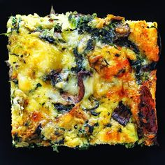 Spinach, Mushroom & Gruyere Strata- perfect for brunch!