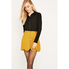 Cooperative Scalloped Button-Front Mini Skirt ($30) ❤ liked on ...