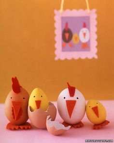 Egg Chickens.  This brood is all smiles, er, beaks as they pose for a family portrait to welcome their latest addition.