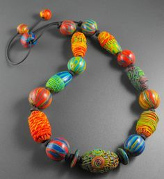 Playing with Color  Polymer Clay Necklace by MargitBoehmer on Etsy