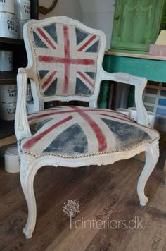 union jack painted chair, Union Jack Chair by Ciruelo Interiors Furniture, Chair, Paint Furniture, Painted Chair, Diy Furniture, Painted Chairs, Painted Furniture, Paint Upholstery, Redo Furniture
