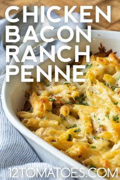 The perfect dinner to make using leftover chicken. Quick Weeknight Dinners, Quick Dinner Recipes, Breakfast Recipes, Chicken Bacon Ranch Bake, 12 Tomatoes Recipes, Slow Cooker Recipes, Cooking Recipes, Baked Penne, Veggie Side Dishes