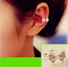 Bow No Peirce Earring. I Want This!