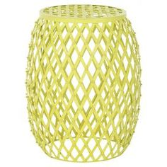 """Iron side table with a criss-cross motif.   Product: Side tableConstruction Material: IronColor: Matte yellowFeatures:  Contemporary style and timeless look and feelIntricate stripes design Dimensions: 17.7"""" H x 15"""" Diameter"""