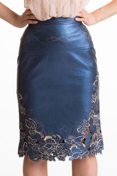 Laser Cut and Embrodeiry Skirt - Midnight Blue Leather