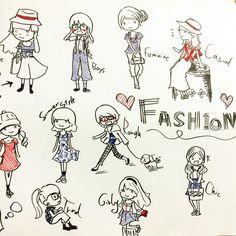ファッションジャンルが色々あって女性は楽しい。雑誌の青系赤系で図解分析してた頃が懐かしい。男性のファッションが全然わかんない… #fashion #illustration #graphic #イラスト #doodle #ファッション #ラクガキ #draw #drawing #絵 #girl #pen #sketch #character #design #infographic #visual