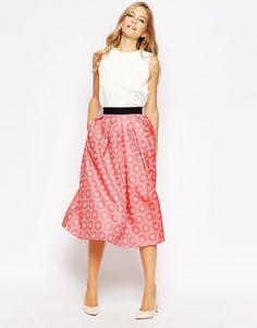 Closet Pleat Waist Midi Skirt