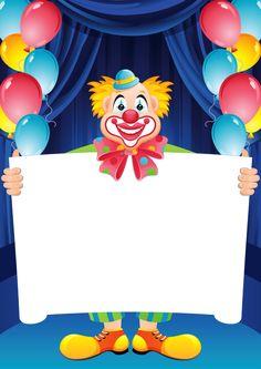 Transparent Birthday Frame with Clown