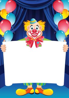 Transparent Birthday Frame with Clown