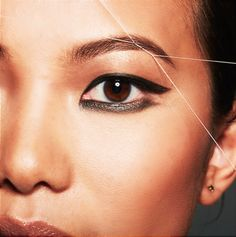Threading contours the perfect brow shape to highlight your own eye makeup artistry.