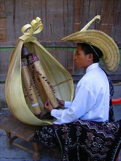 Playing the Sasando - notice the similarity of this instrument with the Valiha of Madagascar. The Malagasy people of Madagascar speak a Malayo-Polynesian language very similar to those of Indonesia, and it is clear that this is where these people originated.