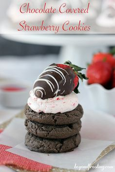 Chocolate Covered Strawberry Cookies. A chocolate cake mix cookie with fresh strawberry Swiss Meringue Buttercream topped with a chocolate covered strawberry.