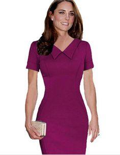 Barato 2015 Kate Middleton vestidos de celebridades Peter Pan Collor lápis bodycon magro partido mulheres vestido, Compro Qualidade Vestidos diretamente de fornecedores da China:                                             Número do produto    141202            Cor do produto    C