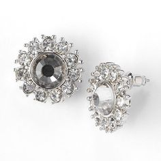 Simply Vera Vera Wang Silver Tone Simulated Crystal Button Stud Earrings