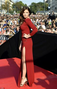 Red-dy for her close up: The 31-year-old Swede, best known for her leading role in BBC historical series The White Queen, wowed the crowd as she hit the red carpet in a showstopping gown