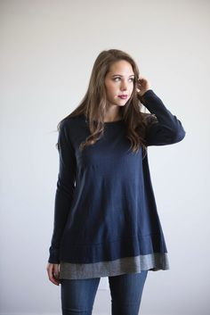 The Baugh Blouse in Navy