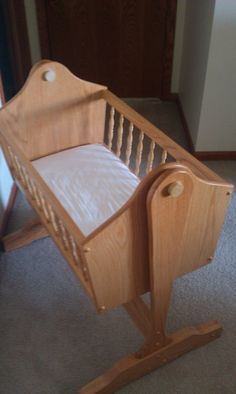 Items similar to Homemade custom wood bassinet on Etsy Baby Cradle Plans, Baby Cradle Swing, Baby Cradle Wooden, Baby Swings, Wood Bassinet, Baby Bassinet, Baby Cribs, Woodworking Plans, Woodworking Projects