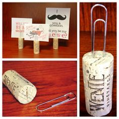 DIY - name card holder from wine corks and a paper clip. Porta cartas con corchos de vino / Re-purpose wine corks into place card holders Wine Craft, Wine Cork Crafts, Wine Bottle Crafts, Wine Tasting Party, Wine Parties, Picture Holders, Place Card Holders, Photo Holders, Diy And Crafts