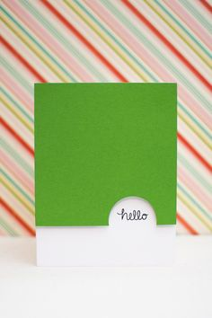 handmade greeting card ... clean and simple ... apple green and white ... half circle at edge of top layer makes space for short sentiment ... luv it!