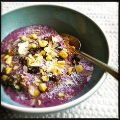Bulgur breakfast with blueberries & buttermilk #healthy #recipe