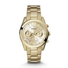 Perfect Boyfriend Multifunction Gold-Tone Stainless Steel Watch - Fossil