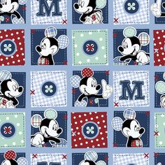 Disney Mickey Plaid Dots Patch Cotton Fabric - Licensed Cotton Prints