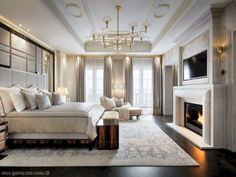 10 Lovely Fireplace Design Ideas For A Comfort House - Page 6 of 11 Luxury Bedroom Design, Master Bedroom Design, Dream Bedroom, Home Bedroom, Bedroom Decor, Interior Design, Bedroom Ideas, Luxury Master Bedroom, Bedroom Designs