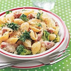 Creamy Pasta Shells with Broccoli and Ham | MyRecipes.com Creamy Pasta Shells with Broccoli and Ham Cost per serving: $1.95 To make this dish lighter, swap in evaporated milk instead of the cream to cut back on fat content and calories.