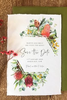 These rustic Save the Dates feature an abundance of Australian Native flora such as eucalyptus protea banksia and more! Perfect for a modern colourful outdoor wedding. They are printed on handmade cotton paper which gives a soft romantic and unique feel. Wedding Invitations Australia, Square Wedding Invitations, Wedding Invitation Kits, Engagement Invitations, Wedding Stationery, Protea Wedding, Bush Wedding, Wedding Book, Wedding Cards