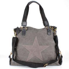 Sterne Star Beutel Schulter Tasche Leder Canvas Jeans Stoff Shopper Vintage NEU