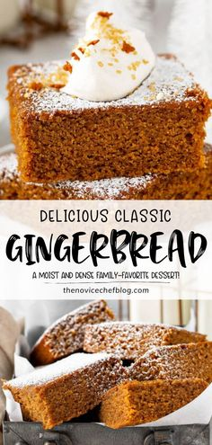 This Classic Gingerbread Recipe is going to become a family favorite! Made with lots of warm spices and molasses, this deliciously moist and dense dessert is perfect for the holidays. Dress it up with a sprinkle of powdered sugar or whipped cream for Christmas in July! Old Fashioned Gingerbread Recipe, Easy Gingerbread Recipe, Gingerbread Cake, Köstliche Desserts, Best Dessert Recipes, Sweet Recipes, Cake Recipes, Dinner Recipes, Party Recipes