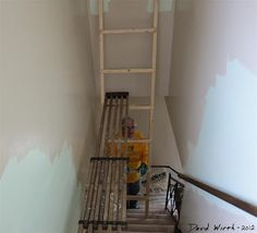 House painting, photoshop design, how to paint stairs, and time lapse video photography of the whole process. Painted Staircases, Painted Stairs, Staircase Walls, Stair Ladder, Scaffolding, Diy Bed, Photoshop Design, Video Photography, House Painting