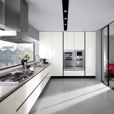 Contemporary White Gloss Lacquered Kitchen Cabinets - One Snow White Gloss Lacquered By Ernestomeda