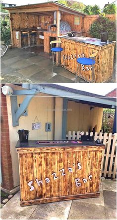 The bar idea shown here is impressive and you can see this is fully created with the wood pallets. There is a separate bar as well as the seating area made up of pallets with the shadow to cover the guests if the weather is harsh.