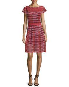 M MISSONI CAP-SLEEVE SCALLOP-STRIPED DRESS, RED. #mmissoni #cloth #