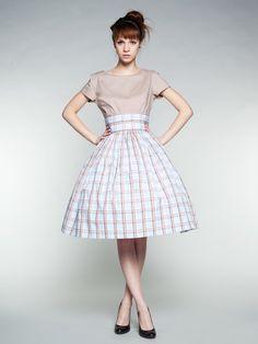 Personnalisé fait 50 s coton robe avec jupe de Checkered (XXS-1 X) par Mrs.Pomeranz