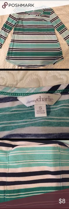 Charming Charlie 3/4 Sleeve striped Top Charming Charlie 3/4 Sleeve striped Top. Multicolored. Pocket on the upper left chest. Worn a couple of times. Charming Charlie Tops Tees - Long Sleeve