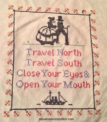 Instantly-Delivered PDFs | Subversive Cross Stitch  |  Revamped and Reworded vintage pattern Travel North