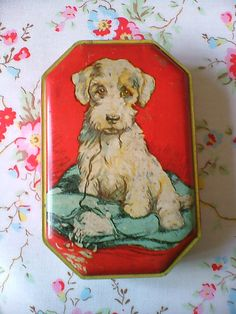 Vintage Collectable Blue Bird Toffee Tin with Puppy Dog on Pillow Vintage Dog, Vintage Tins, Vintage Antiques, Vintage Picnic, Vintage Candy, Metal Containers, Company Picnic, Tin Toys, Retro