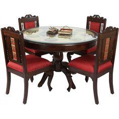 Teak Wood 4 Seater Round Dining Table In Warli & Dhokra Work Four Seater Dining Table, Buy Dining Table, Wooden Dining Set, Dining Table Online, Round Dining Set, Solid Wood Dining Set, Square Dining Tables, Dining Furniture, Furniture Design