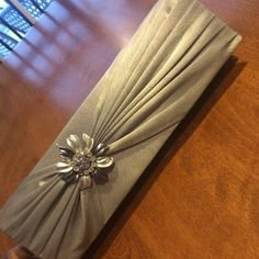 Jessica McClintock Evening Clutch Silver Jessica McClintock evening clutch. Silver and purple beautiful broach. Rarely been used. Jessica McClintock Bags Clutches & Wristlets